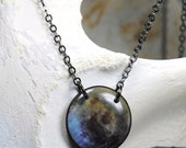 Full moon necklace, lunacy, lunar necklace , resin necklace,  blue moon moon, translucent resin jewelry,gunmetal