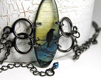 Haunted bird bracelet,resin and gunmetal bracelet, olive , black, blue,adjustable, gifts under 25