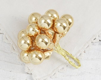 Gold Glass Ball Picks - Vintage Style Christmas Ornament Craft Stems, Set of 12