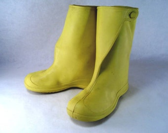 Yellow Child Overshoe Galoshes Rain Boots size 11-13 Vintage 60s