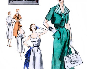 Vogue S-4321 Special Design Vintage 50s Misses' Dress and Bolero Sewing Pattern - Uncut - Size 14 - Bust 32