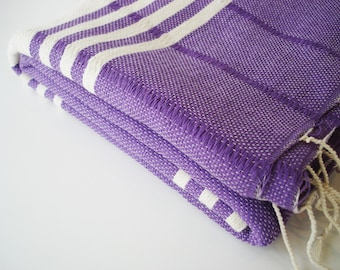 SALE 50 OFF/ BathStyle / No2 Purple / Turkish Beach Bath Towel Peshtemal / Wedding Gift, Spa, Swim, Pool Towels and Pareo