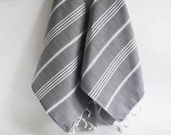 SALE 50 OFF/ Head and Hand Towel / Classic Style / SET / 2 Towels / Gray - White striped