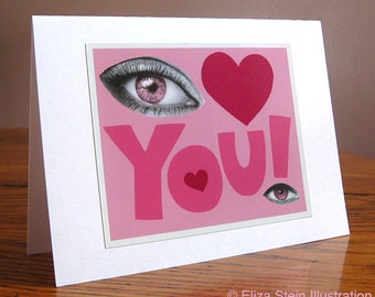 Eye Love You Valentines Day Card, Pink Greeting Card, Blank, 5x7, Cute Valentine Card