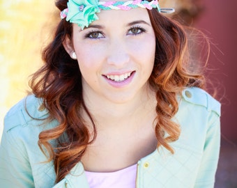 Hippy Halo Style Flower Headband Aqua Tie back