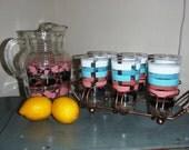 Pitcher & Glass set, Lemonade glass set caddy,Mid Century Glass