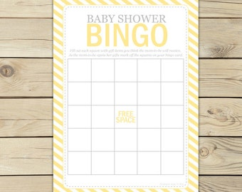 Yellow Baby Shower Bingo Game - Yellow Baby Shower Games Printable - Instant Download - Yellow Baby Shower Bingo Cards - Party Games