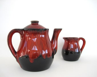 Vintage Ceramic Coffee Pot Teapot Creamer Black Red Drip Glaze Pottery Danesi Arts