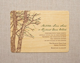 Real Wood Wedding Invitation - Birch Spring