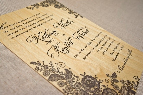 Real Wood Wedding Invitations: Real Wood Wedding Invitation Black Lace Invitation
