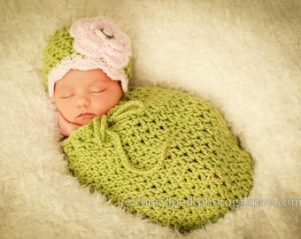 Newborn Crochet Cocoon and Hat Photo Prop