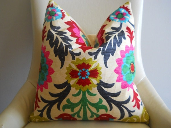 Waverly Santa Maria Pillow Cover Throw Toss Pink Fushcia Navy