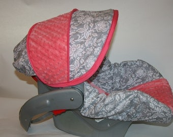 Baby car seat cover gray and white floral with coral minky - Baby Girl Infant car seat cover - 4pc set - Slipcover, canopy, and strap covers