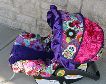 Purple pink green blue Flowers 3D rose accent Infant car seat cover -  Purple minky and ruffle - Custom Order with FREE Strap Covers