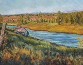 Truckee River with Mt. Rose, Original oil on canvas