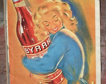 Vintage French Advert Byrrh 1950s Pierre Okley