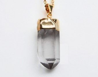 Quartz Crystal  gold dipped necklace
