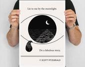 Literary Quote print, F. Scott Fitzgerald - Tear Art Poster, Illustration Geometric Art Print, Large Wall Art Minimalist Writer Gift