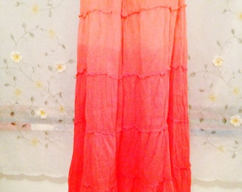 OPEN SIZE, Orange Bohemian Hippie Tiered Skirt