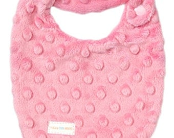 NEWBORN Baby Girl Drooler Bib in Pink Dimple Minky - Perfect NEW baby gift - Free Shipping