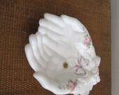 SALE Milk Glass Dish Westmoreland Double Hands with Roses and Bows
