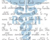 Registered Nurse's Prayer counted  Cross Stitch Pattern Nurse