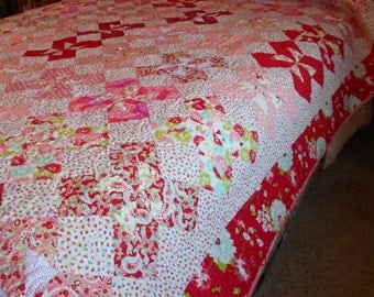 Queen or King Sized Quilt - Scrumptious and Friends Double Pinwheel Quilt