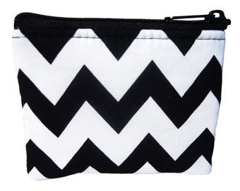 Chevron Black and White Print Coin Bag