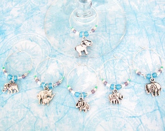 Elephant Wine Charms - Set of 6 Elephant Wine Charms