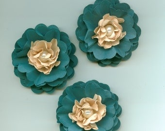 Dark Teal and Tan Peony Paper Flowers Tropical