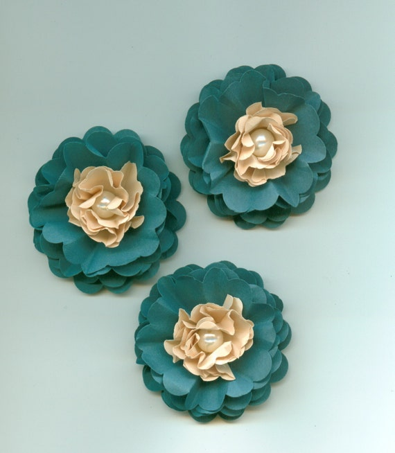 Dark Teal And Tan Peony Paper Flowers Tropical From