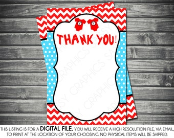 Twins Baby Shower Thank You Card - Chevron, Polka Dots, Dr. Seuss, Red, Turquoise, Printable, Digital