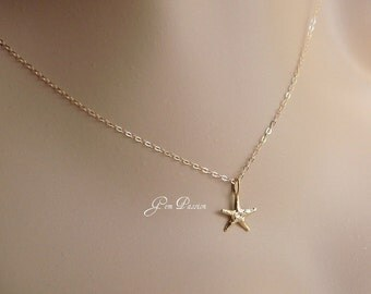 Set of 5 Gold Starfish Necklaces Bridesmaid Gift Gold Vermeil Starfish Charm 14k Gold Filled Necklace Beach Charm Sea Charm Necklace