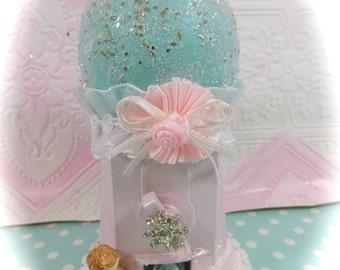 Shabby Cottage Chic Pink & Aqua Mini Gumball Machine Ornament