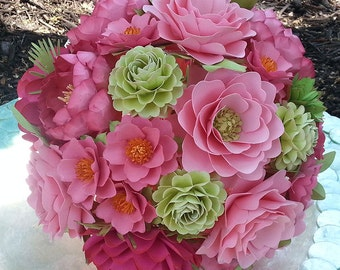 Paper Bouquet - Paper Flower Bouquet - Wedding Bouquet - Shades of Pink and Green - Custom Made - Any Color