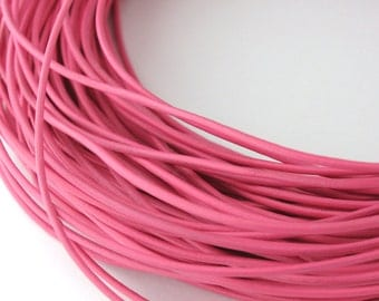 LRD0105016) 0.5mm Pink Genuine Round Leather Cord.  1 meter, 3 meters, 5 meters, 10 meters, 15.2 meters.  Length Available.
