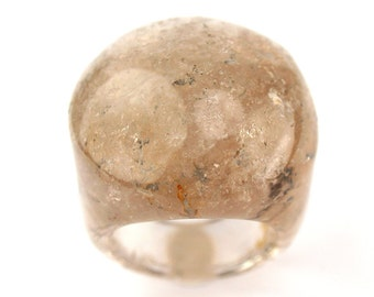 RI01021002) Smoky Agate Dome Ring