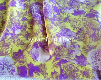 """Silk fabric, vintage style floral print crepe de chine silk fabric, pure silk fabric, dress fabric, one yard by 54"""" wide"""