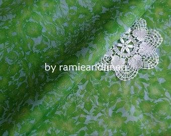 """silk fabric, Spring green floral print Silk Organza, one yard by 42"""" wide"""