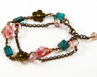 Antique Rose Pink Turquoise Antique Brass Bracelet Summer Flowers
