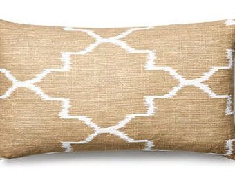 neuteral ikat trellis design pillow cover cushion