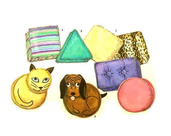 Vintage 1950s pillows TV Cat Pillow Pattern McCalls 2159 Dog Triangle