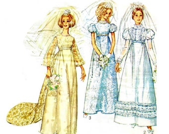 Vintage 1960s Wedding Dress Pattern Uncut Simplicity 8589 Size 14 Bust 36