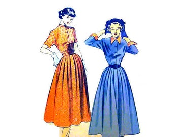 Vintage 1950s Dress Pattern Petite Bust 31 32 Size 13 14 Advance 5267