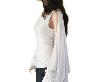 White tank blouse/Cape long sleeve/Cold shoulder top/Big sleeve drama/Drape back cover/Empire bust line/Knit wear women
