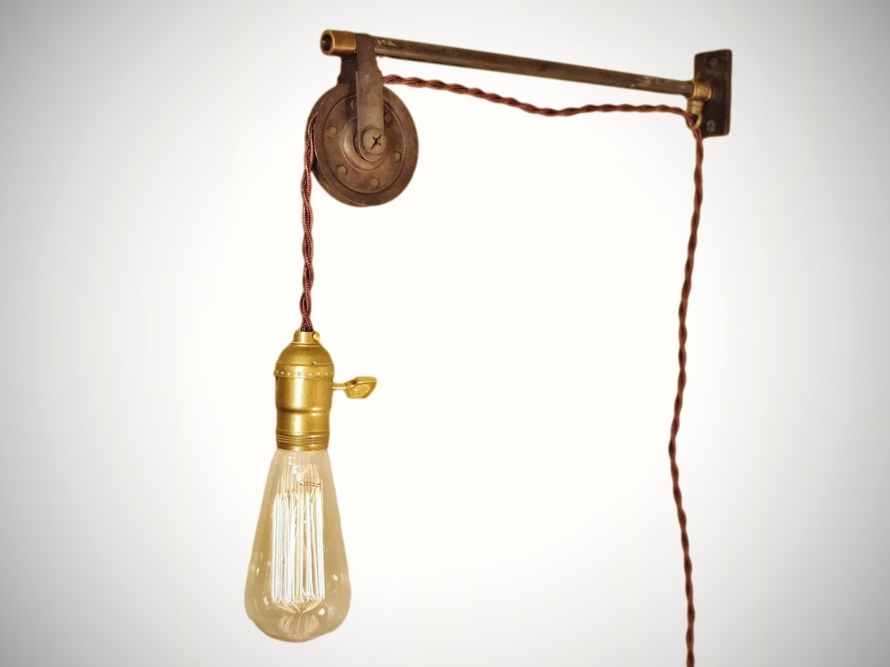 Wall Bracket Pendant Lamp : Vintage Industrial Pulley Lamp Wall Mount Pendant Light