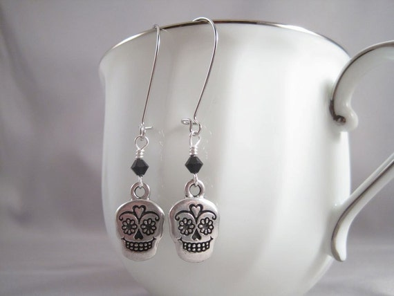 Sugar Skull Day of the Dead Antique Silver Earrings