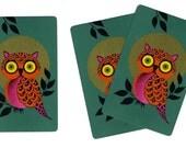FULL MOON OWL (3) Vintage Single Swap Playing Cards Paper Ephemera Scrapbook
