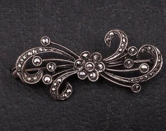 1920s Italian Fine Silver Marcasite Brooch
