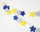 Boy Star Garland - made with wool blend felt in blue, grey, white and yellow, perfect for baby nursery or kids room
